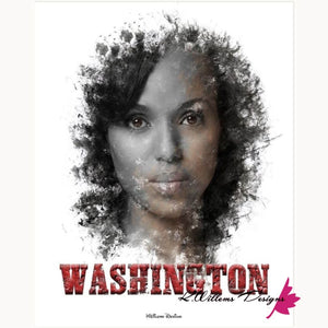 Kerry Washington Premium Ink Smudge Art Print - Wrapped Canvas Art Print / 16x20 inch