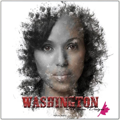 Image of Kerry Washington Premium Ink Smudge Art Print - Wrapped Canvas Art Print / 24x24 inch