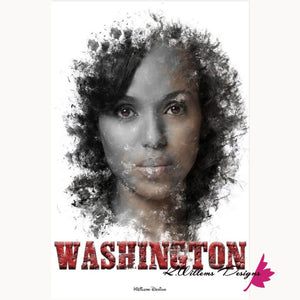 Kerry Washington Premium Ink Smudge Art Print - Wrapped Canvas Art Print / 24x36 inch