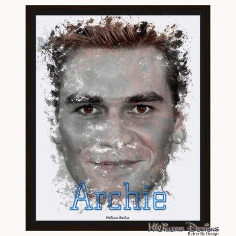Image of KJ Apa as Archie Ink Smudge Style Art Print - Framed Canvas Art Print / 16x20 inch