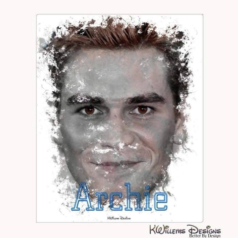 KJ Apa as Archie Ink Smudge Style Art Print - Wrapped Canvas Art Print / 16x20 inch