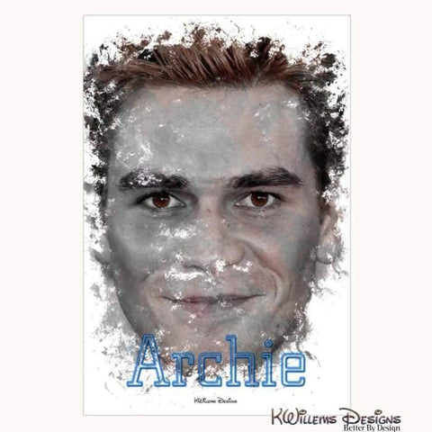KJ Apa as Archie Ink Smudge Style Art Print - Wrapped Canvas Art Print / 24x36 inch