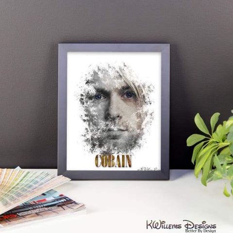 Image of Kurt Cobain Ink Smudge Style Art Print