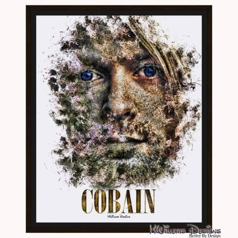 Image of Kurt Cobain Ink Smudge Style Art Print - Framed Canvas Art Print / 16x20 inch