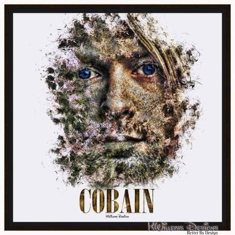 Image of Kurt Cobain Ink Smudge Style Art Print - Framed Canvas Art Print / 24x24 inch
