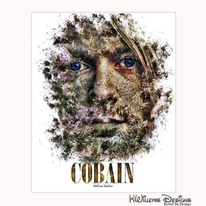 Kurt Cobain Ink Smudge Style Art Print - Wrapped Canvas Art Print / 16x20 inch