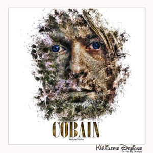 Kurt Cobain Ink Smudge Style Art Print - Wrapped Canvas Art Print / 24x24 inch