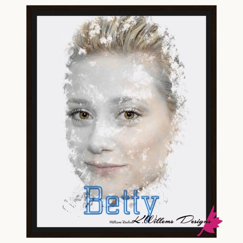 Image of Lili Reinhart as Betty Ink Smudge Style Art Print - Framed Canvas Art Print / 16x20 inch