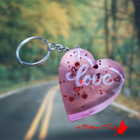 Image of Love Heart Key Chain - Pink