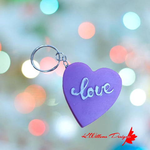 Love Heart Key Chain - Purple