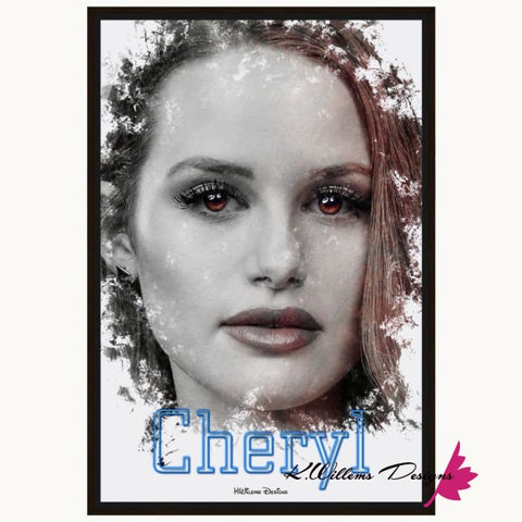 Madelaine Petsch as Cheryl Ink Smudge Style Art Print - Framed Canvas Art Print / 24x36 inch