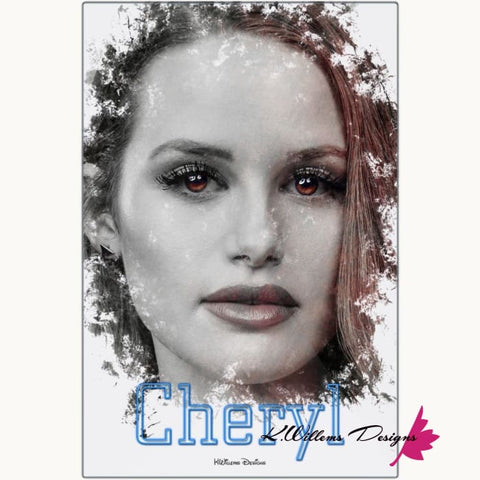 Image of Madelaine Petsch as Cheryl Ink Smudge Style Art Print - Metal Art Print / 24x36 inch