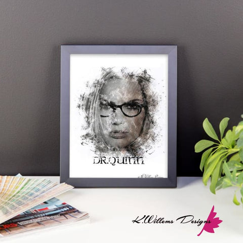 Image of Margot Robbie as Dr Quinzel Ink Smudge Style Art Print