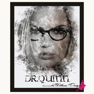 Margot Robbie as Dr Quinzel Ink Smudge Style Art Print - Framed Canvas Art Print / 16x20 inch