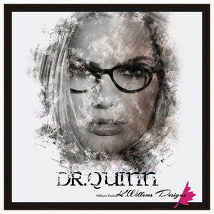 Margot Robbie as Dr Quinzel Ink Smudge Style Art Print - Framed Canvas Art Print / 24x24 inch