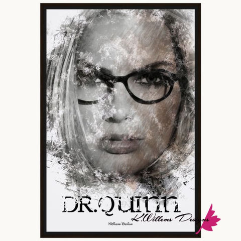 Image of Margot Robbie as Dr Quinzel Ink Smudge Style Art Print - Framed Canvas Art Print / 24x36 inch
