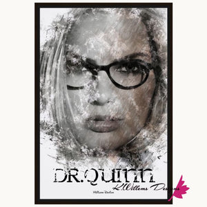 Margot Robbie as Dr Quinzel Ink Smudge Style Art Print - Framed Canvas Art Print / 24x36 inch