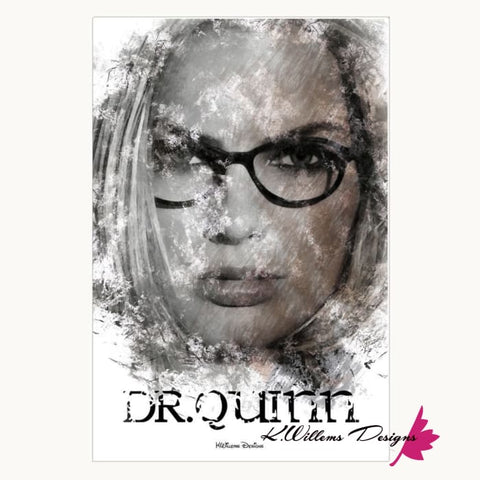 Image of Margot Robbie as Dr Quinzel Ink Smudge Style Art Print - Wrapped Canvas Art Print / 24x36 inch