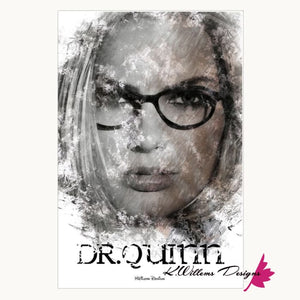 Margot Robbie as Dr Quinzel Ink Smudge Style Art Print - Wrapped Canvas Art Print / 24x36 inch