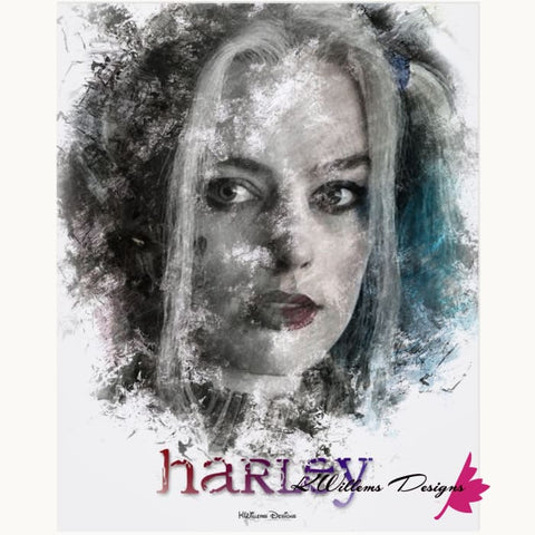 Image of Margot Robbie as Harley Quinn Ink Smudge Style Art Print - Acrylic Art Print / 16x20 inch