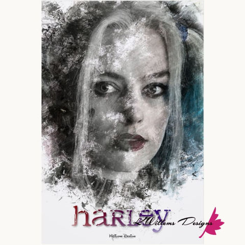 Image of Margot Robbie as Harley Quinn Ink Smudge Style Art Print - Acrylic Art Print / 24x36 inch