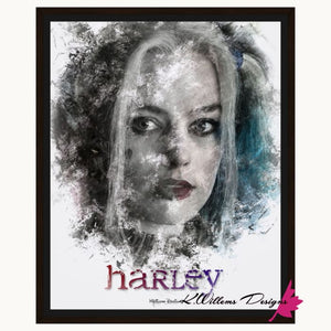 Margot Robbie as Harley Quinn Ink Smudge Style Art Print - Framed Canvas Art Print / 16x20 inch