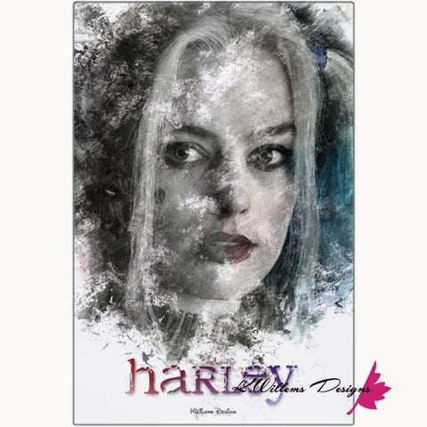 Image of Margot Robbie as Harley Quinn Ink Smudge Style Art Print - Metal Art Print / 24x36 inch