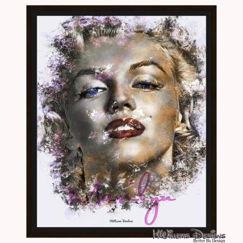 Marilyn Monroe Ink Smudge Style Art Print - Framed Canvas Art Print / 16x20 inch