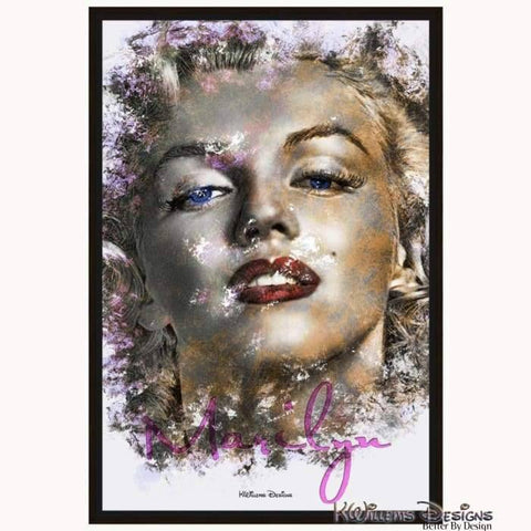 Marilyn Monroe Ink Smudge Style Art Print - Framed Canvas Art Print / 24x36 inch