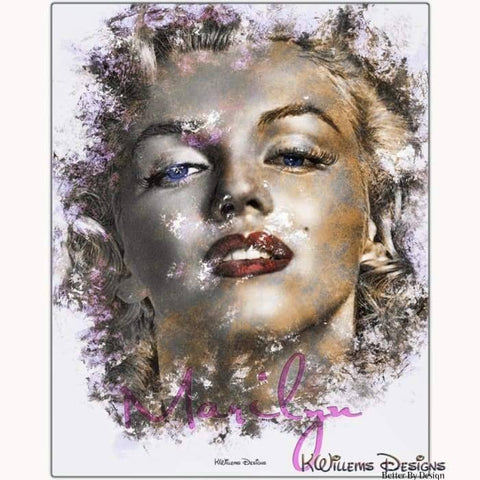 Image of Marilyn Monroe Ink Smudge Style Art Print - Metal Art Print / 16x20 inch