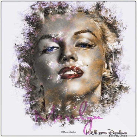 Image of Marilyn Monroe Ink Smudge Style Art Print - Metal Art Print / 24x24 inch