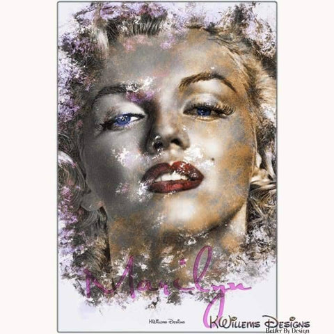 Image of Marilyn Monroe Ink Smudge Style Art Print - Metal Art Print / 24x36 inch