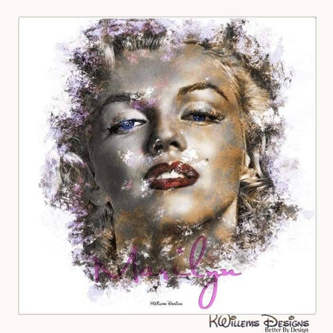 Marilyn Monroe Ink Smudge Style Art Print - Wrapped Canvas Art Print / 24x24 inch