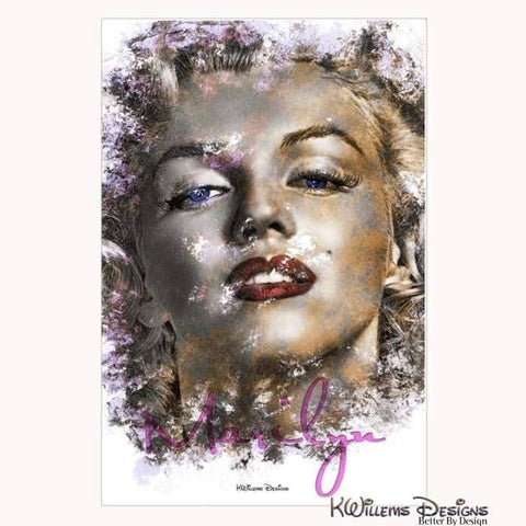 Marilyn Monroe Ink Smudge Style Art Print - Wrapped Canvas Art Print / 24x36 inch