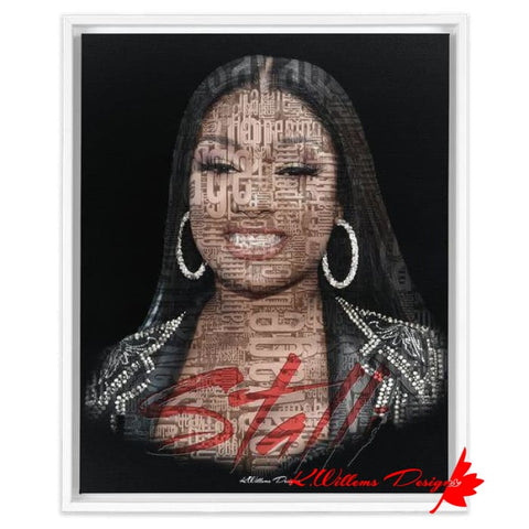 Image of Megan Thee Stallion Word Cloud Art Print - Framed Canvas Art Print / 16x20 inch