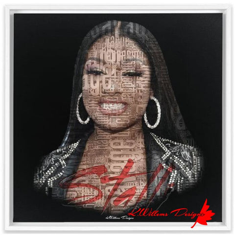 Image of Megan Thee Stallion Word Cloud Art Print - Framed Canvas Art Print / 24x24 inch