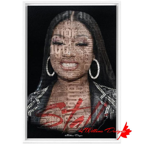 Image of Megan Thee Stallion Word Cloud Art Print - Framed Canvas Art Print / 24x36 inch