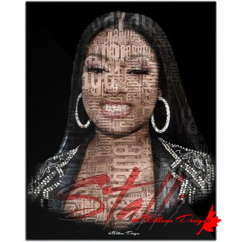 Image of Megan Thee Stallion Word Cloud Art Print - Metal Art Print / 16x20 inch
