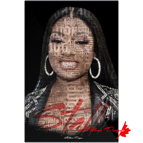 Image of Megan Thee Stallion Word Cloud Art Print - Metal Art Print / 24x36 inch