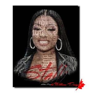 Megan Thee Stallion Word Cloud Art Print - Wrapped Canvas Art Print / 16x20 inch