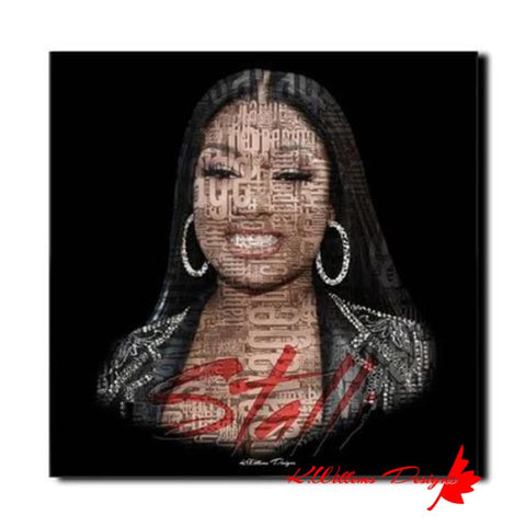 Megan Thee Stallion Word Cloud Art Print - Wrapped Canvas Art Print / 24x24 inch