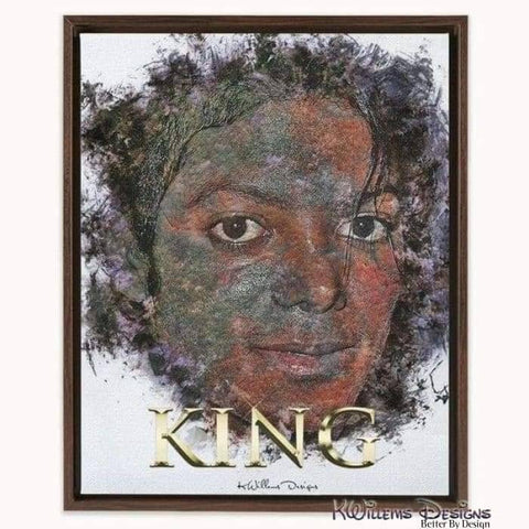 Image of Michael Jackson Ink Smudge Style Art Print - Framed Canvas Art Print / 16x20 inch