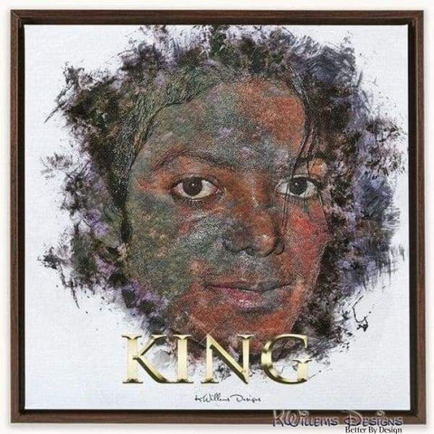 Image of Michael Jackson Ink Smudge Style Art Print - Framed Canvas Art Print / 24x24 inch
