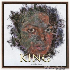 Michael Jackson Ink Smudge Style Art Print - Framed Canvas Art Print / 24x24 inch