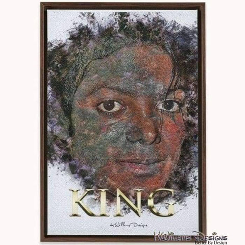 Image of Michael Jackson Ink Smudge Style Art Print - Framed Canvas Art Print / 24x36 inch