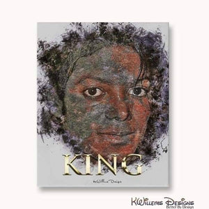 Michael Jackson Ink Smudge Style Art Print - Wrapped Canvas Art Print / 16x20 inch