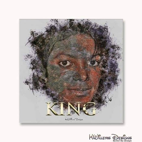 Image of Michael Jackson Ink Smudge Style Art Print - Wrapped Canvas Art Print / 24x24 inch