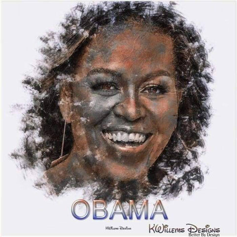 Image of Michelle Obama Ink Smudge Style Art Print - Acrylic Art Print / 24x24 inch