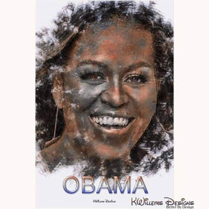 Michelle Obama Ink Smudge Style Art Print - Acrylic Art Print / 24x36 inch
