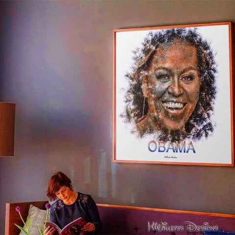 Image of Michelle Obama Ink Smudge Style Art Print